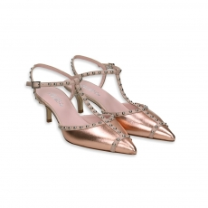 Open side mule laminated rosegold & microborchie heel 50