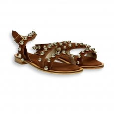 Brown suede beads sandal leather sole 10 mm.