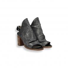 Lead laminated print calf buckle sandal heel 80 mm.