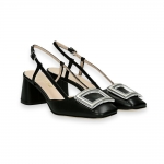 Black calf clamp slingback heel 50 mm. leather sole