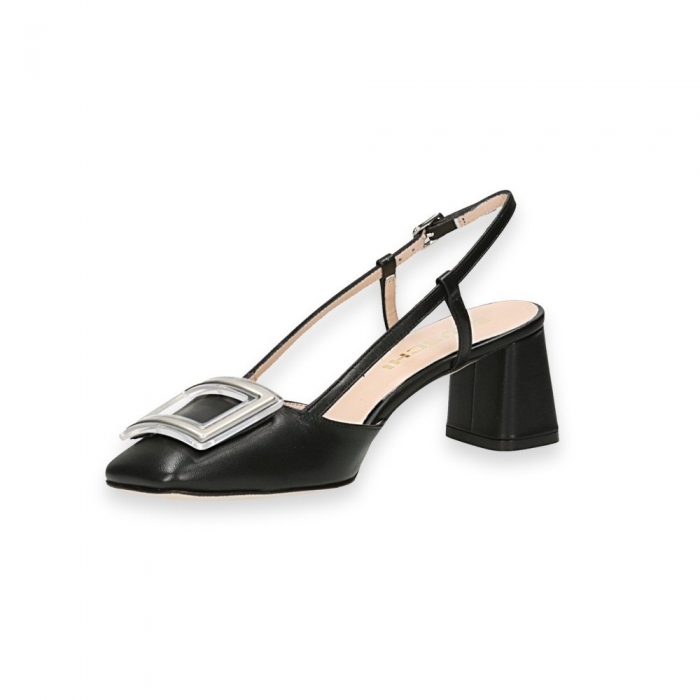 STATUS - Black calf clamp slingback heel 50 mm  leather sole