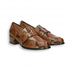 Brown python printed calf loafer heel 40 mm.