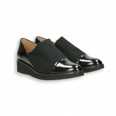 Black polished calf and elastic fabric slip on wedges 30 mm. rubber sole