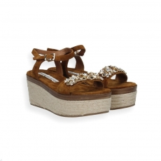 Brown suede sandal jewel strap rope platform rubber sole
