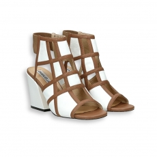 White napa calf and squared brown leather Sandal heel 70 mm. leather sole