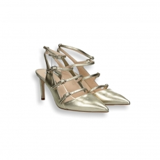 Gold laminated calf 3 strap chanel heel 80 mm.