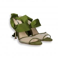Green grossgrain suede and net sandal gold heel 90 mm.
