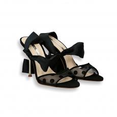 Black grossgrain suede and net sandal gold heel 90 mm.