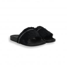 Black plums fashion fusbett slides rubber sole