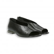 Black calf open toe zip slip-on heel 15 mm.