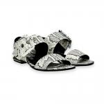 White rock printed python calf buckle sandal heel 15 mm