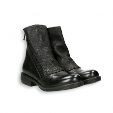 Black calf and whips double zip biker low boot rubber sole