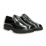 Black naplak english-style tip loafer rubber sole