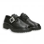 Black calf Swarovski buckle monk strap rubber sole