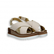 Beige calf crossed belt sandal platform 30 mm. rubber sole