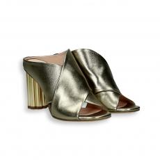 Platinum laminated calf sandal gold heel 90 mm. leather sole