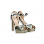 Steel and platinum laminated calf Ankle strap sandal platform heel 100 mm.