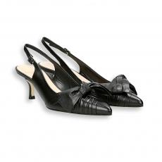 Black goat calf knot Slingback heel 50 mm. leather sole