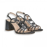Steel lurex sandal heel 70 mm. leather sole