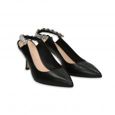 Black leather chanel with swarovski cry heel 70