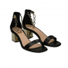 Black nappa sandal with chain strap  and gold 50 heel
