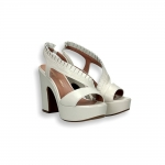White napa rouches platform sandal heel 90 mm.