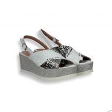 Silver and white braided leather sandal wedge 60 mm.