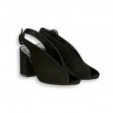 Black suede Sandal heel 60 mm. leather sole