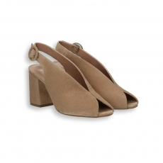 Dove suede Sandal heel 60 mm. leather sole