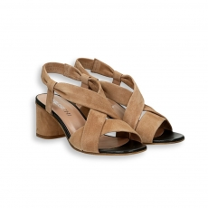 Light brown suede sandal heel 50mm. leather sole