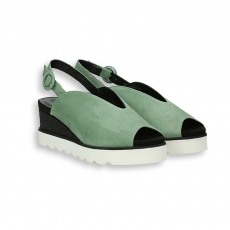 Green and black suede platform sandal heel 40 mm. rubber sole