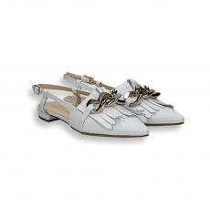 White calf fringe and chain slingback heel 10 mm.