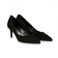 Black suede pointed pump heel 65 mm.