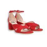 Red suede seared toe crossover sandal heel 50 mm. leather sole