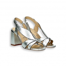 Silver laminated leaf sandal heel 70 mm.