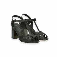 Black calf basket sandal heel 70 mm.