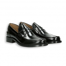 Black polished calf penny loafer leather sole with rubber