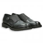 Black shiny calf and printed calf monk strap rubber sole