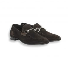 Dark brown suede clam loafer leather sole with rubber insert