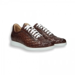 Brandy interweaved calf sneaker rubber sole
