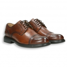 Brandy calf english-style tip derby rubber sole