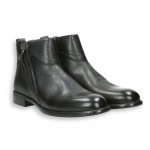 Black buffalo leather zipped ankle boot leather sole with rubber insert