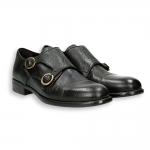 Black bufalo leather monk strap leather sole