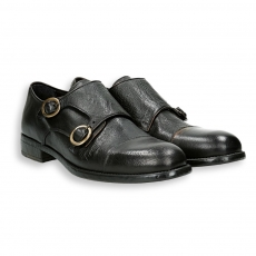 Black bufalo leather monk strap leather sole