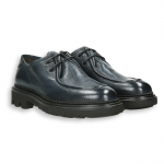 Blue deer calf paraboot style lace-up rubber sole