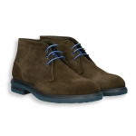 Dark brown suede ankle boot micro rubber sole