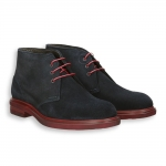 Blue suede ankle boot red rubber sole micro