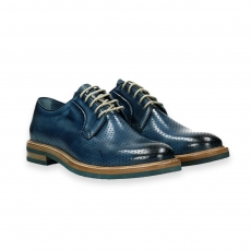 Blue delave' perforated calf derby rubber sole micro