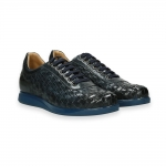 Blue interweaved calf sneaker rubber sole