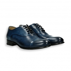 Blue perforated calf Oxford shoes leather sole